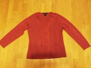 Women-Orange-August-Silks-Knit-Top-Long-Sleeve-V-Neckline-sz-XL