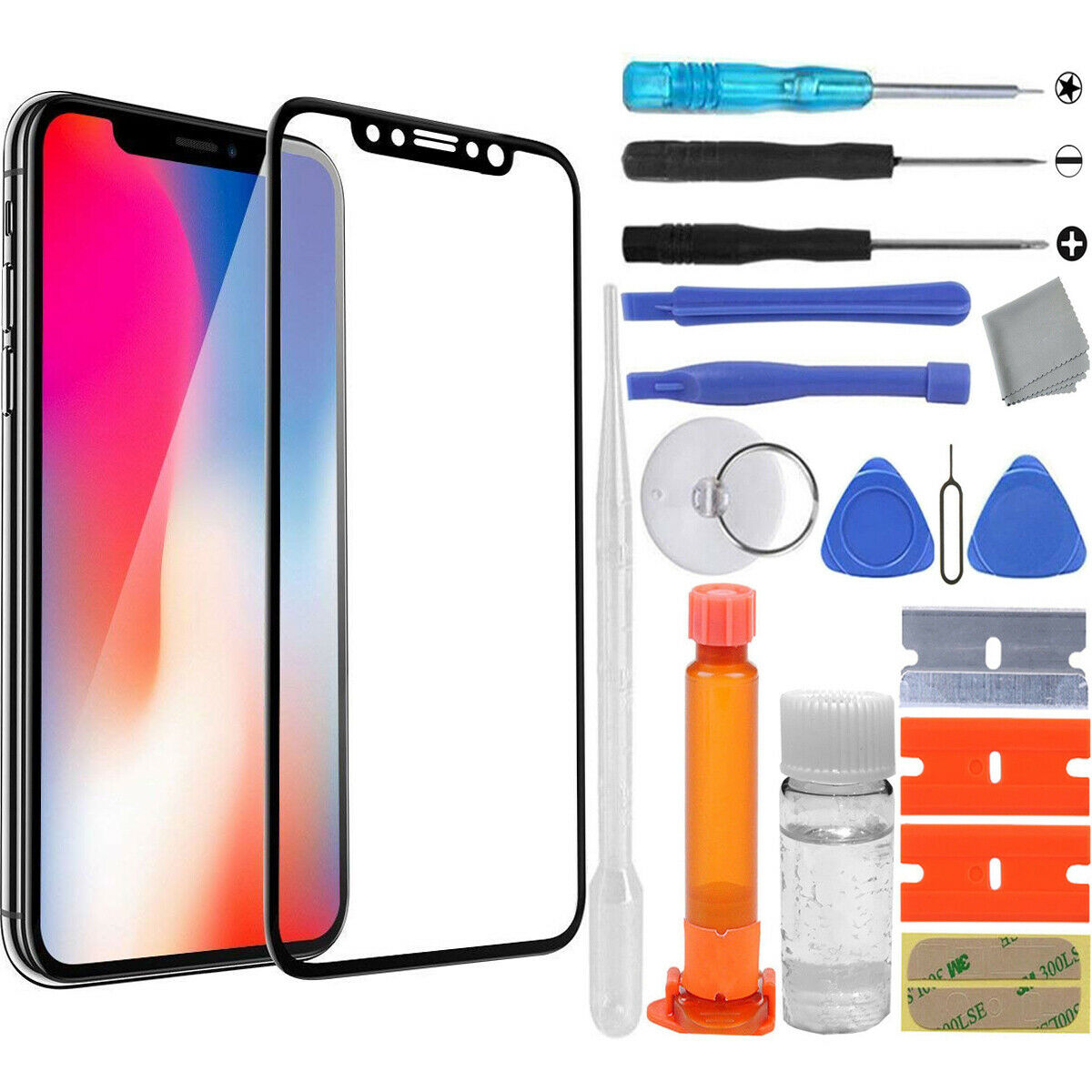 Apple iPhone X Front LCD Glass Screen Replacement UV Loca ...