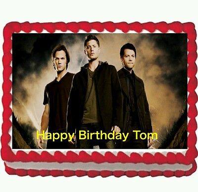 Supernatural Dean Sam Winchester Birthday Party Edible Cake Topper 1//4 sheet