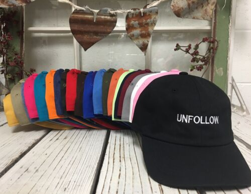 Unfollow Curved Brim Baseball Polo Caps Hats Many Colors