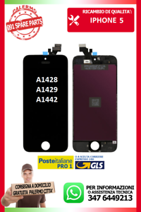 LCD-TOUCH-SCREEN-VETRO-DISPLAY-SCHERMO-PER-IPHONE-5-NERO-A1428-A1429-A1442