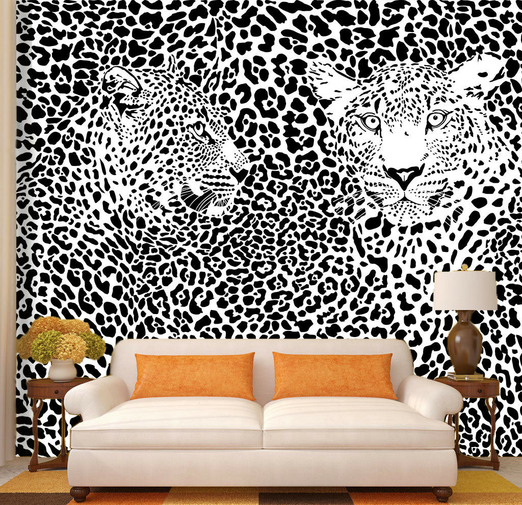 3D Spotted Leopard Wallpaper Mural Paper Wall Print Wallpaper Murals UK