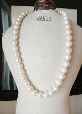 "18"" AAA 11-10 Mm South Sea Natural White Pearl Necklace 14k Gold Clasp"