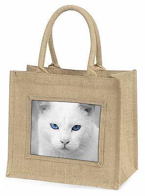 blau Äugig weiß Katze große natürliche jute-einkaufstasche Weihnachten