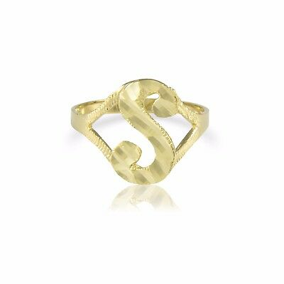 14K Solid Yellow Rose Gold Heart Initial Letter Ring A-Z Any Alphabet Band Women