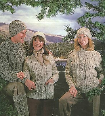 Mens and Ladies Sweater, Cardigan, Hat and Long Socks Knitting Pattern : Aran
