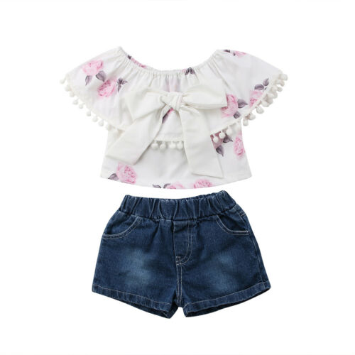 AU Toddler Kid Baby Girl Clothes Casual T Shirt Top Denim Short Pants Outfit Set