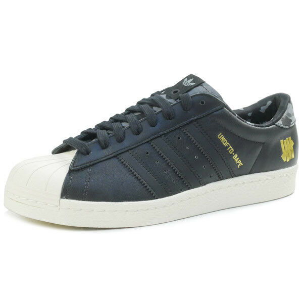 Un BATHING APE UNDEFEATED Adidas 15SS SUPER STAR 80 Zapatillas Negras EE. UU. 9.5