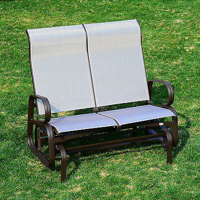 Outsunny Double Seat Gliding Garden Swing Bench Rocking Chair Outdoor Porch Yard
