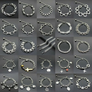 Silver-Stainless-Steel-Men-Link-Chain-Wristband-Cuff-Bracelet-Bangle-Jewelry