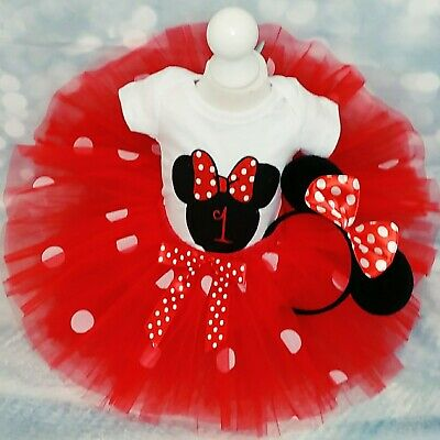Marvelous Baby Girl First 1St Birthday Minnie Mouse Outfit Tutu Cake Smash Personalised Birthday Cards Veneteletsinfo
