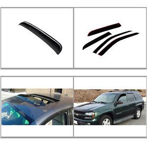 Window Visor Rain Guard Kit Black New Vent Fit For Chevy TrailBlazer 2002-2009