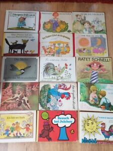 15-Kinderbuecher-Bilderbuch-antik-aus-der-DDR-Konvolut-Kinderbuchverlag-Pappe