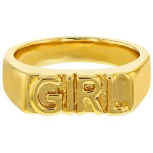 14k-Yellow-Gold-Plated-034-Girl-034-Engraved-Band-Rings-for-Girls