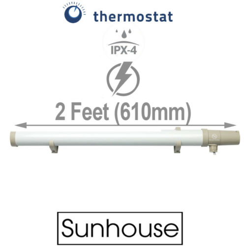 Sunhouse 80W Low Energy Eco Tubular Heater 2ft Tube  Built In Thermostat Stat