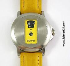 Rarität Damen Esprit Scheibenuhr Leder Armband gelb mit neuer Batterie ! .
