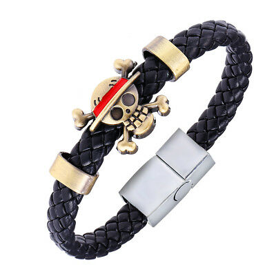 One Piece Anime Bracelet Death Skull Flag Weave Bracelet Cosplay Bangle