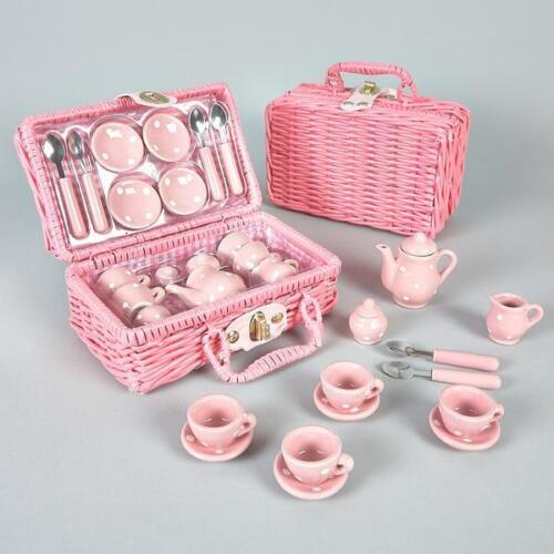 Soie et rock Think Pink Pois 17 Pièces Mini Céramique filles Tea Set dans panier