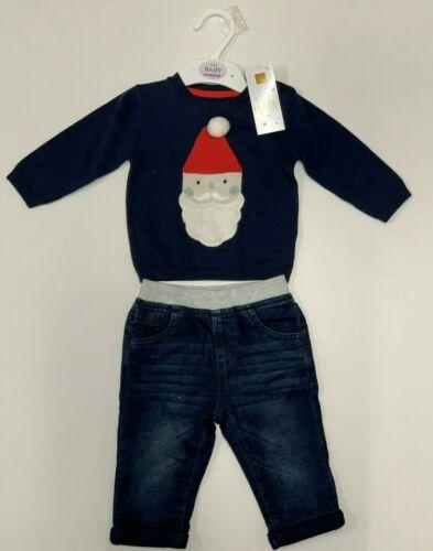 Neuf Marks /& Spencer bébé garçon Noël Costume Pull Denim Pantalon Père Noël 3-6 mois