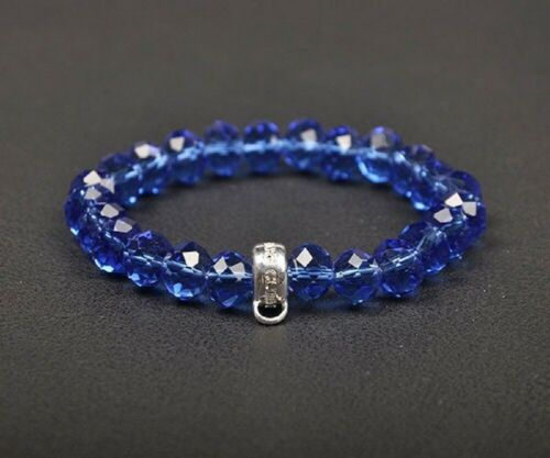 NEW LOVELY BLUE  FACETED CRYSTAL BEADS BRACELET WITH CARRIER FOR CLIP ON CHARMS