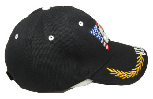 Waving USA American Bald Eagle Branches Black Embroidered Cap Hat CAP676 TOPW