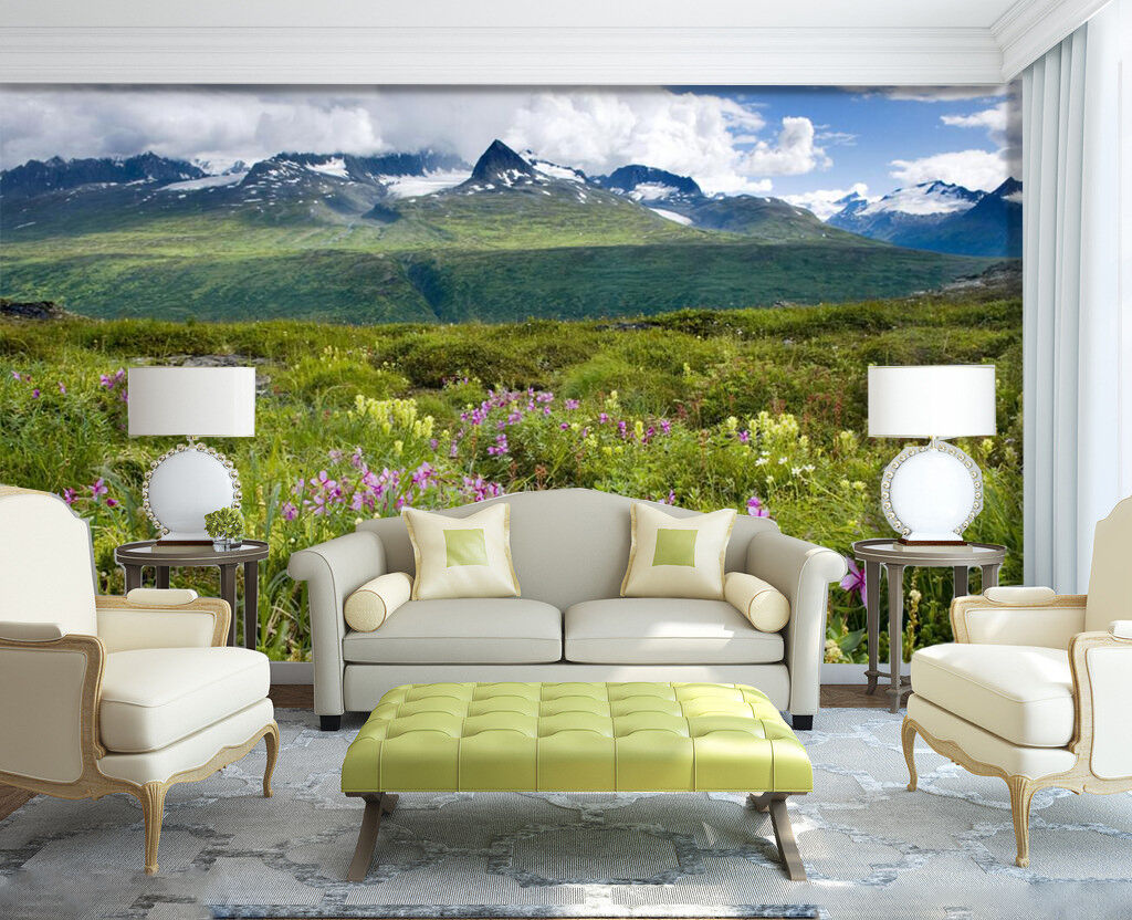 3D Green Mountains Flower 02 Paper Wall Print Wall Decal Wall Deco Indoor Murals