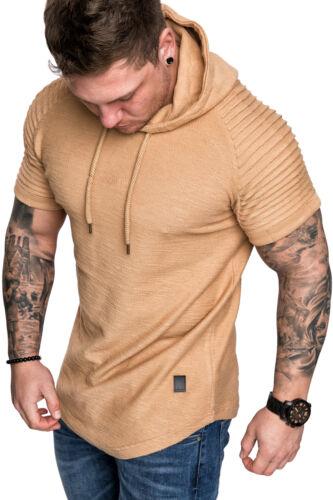 Oversize Vintage Herren Biker-Style Kurzarm T-Shirt Kapuzen Sweatshirt 4043