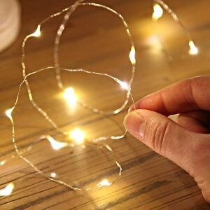 d7a0b3c15a09 2/5/10M Button Battery Operated LED Copper Wire String Fairy Lights ...