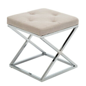 Swell Details About Upholstered Vanity Stool Footrest Stool Small Ottoman Entryway Seat Linen Fabric Andrewgaddart Wooden Chair Designs For Living Room Andrewgaddartcom