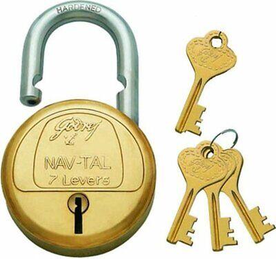 Godrej Herculoc Plus Satin Nickel Padlock with 4 Keys India/'s Most Secured Locks
