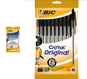 BIC-Cristal-Original-10-Paquet-Stylos-a-Bille-1-0-MM-Nib-Choisir-De-Bleu-ou-Noir