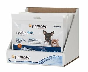3 Pack Petmate Pet Dog Cat Replendish Charcoal Replacement Filters Waterer Water
