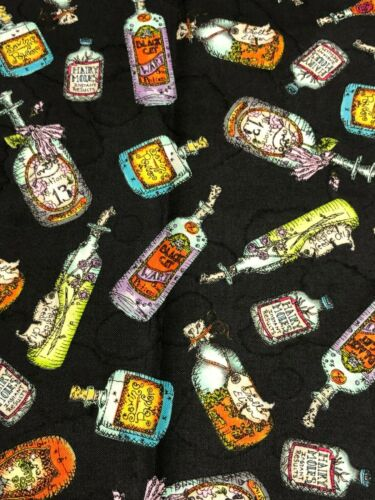 Halloween Salem Quilt Show Witch Potion Bottle Bottles on Black Fabric BTHY