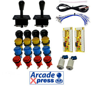 Kit-Arcade-x2-American-Joysticks-Negros-16-botones-2player-Encoder-USB-Bartop