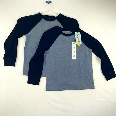 Cat /& Jack Toddler Girls Size 5T Two Pack Tee Shirts Blue Heather Gray Short Slv