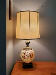 Vintage-Hand-Painted-Falkenstein-Parlor-Lamp-W-Shade-3-Way-Victorian-Style