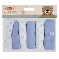 6 Pack Baby Kids Soft Wash Cloth Bath Feeding Shower Towel Flannel Wipe Blue