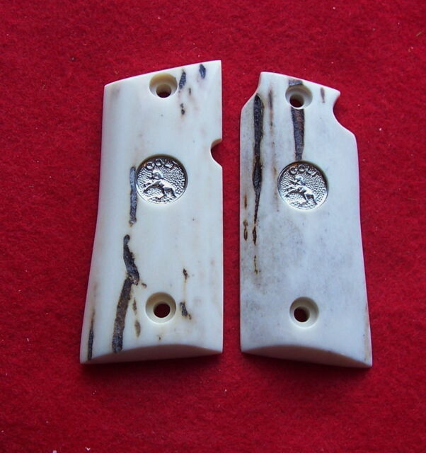 Colt Grips Sambar Stag Grips for Mustang .380 with Silver Colt Medallions