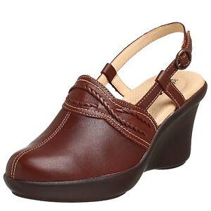 Soft-Walk-Padua-Brown-Leather-Clogs-Mules-Heels-Wedges-Shoes-7-5-9-5-N-8-5-9-W