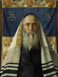 RABBI WITH PRAYER SHAWL TALLIT JEWISH JUDAICA ART PRINT