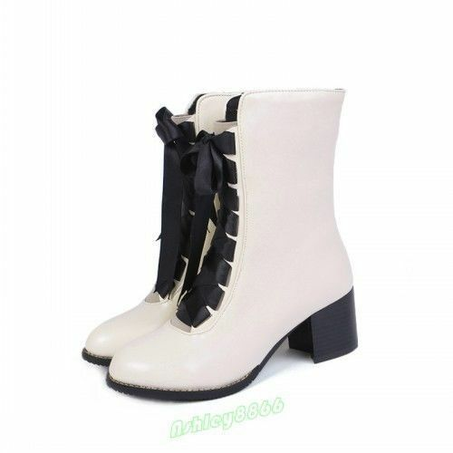 British Fashion Lace Up Women Block Heel Ankle Boot New Autumn Side Zipper Shoes