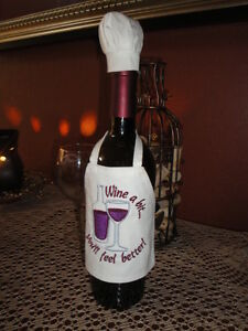 bottle aprons novelty homemade personalized hostess gift chef hat