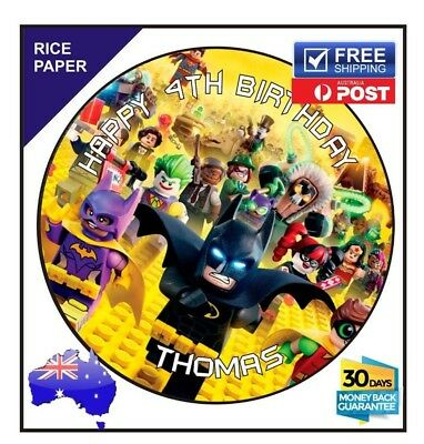 LEGO Batman Edible Image Rice paper birthday cake topper superhero round  19cm | eBay