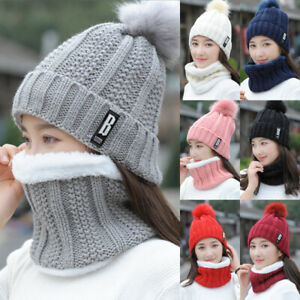 Women-Winter-Scarf-And-Hat-Set-Knitted-Warm-Beanie-Skullcaps-Knit-Neck-Warmer-US
