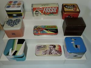 Fossil-Brand-Watch-Tins-variety-of-sizes-Lot-of-9-Empty-Tins-v3493