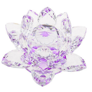 Crystal-Lotus-Flower-Buddhist-Ornament-Feng-Shui-Art-Glass-Decor-Purple