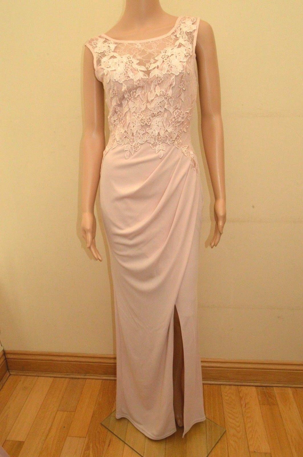 New Lipsy Petite Michelle Keegan Nude Applique Lace Maxi Dress Sz UK 12