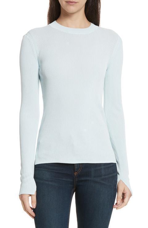 NEW Rag & Bone Sylvie Crewneck Rib-Knit Sweater in Sky - Größe L  S451