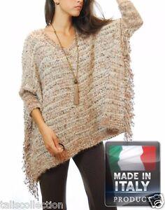 en Italie Style ouvert capuche Boho Cape Fabriquée Susana manches 0461 en Ia tricot à à tq4Zz7w