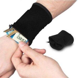 Key-Strap-Bag-Wrist-Wallet-Bag-Zipper-Wrist-Wallet-Arm-Band-Bag-Arm-Sport-Black